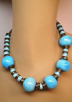 Vintage Necklace Big Ceramic Aqua Beads Multiple Copper Spacers an Smaller Ceramic Beads 60s