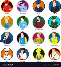 Avatar profession collection of sixteen isolated round user images and uniformed human characters with text captions vector illustration. Download a Free Preview or High Quality Adobe Illustrator Ai, EPS, PDF and High Resolution JPEG versions.