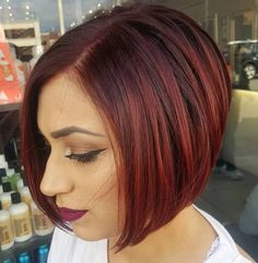Side-Parted Sleek Burgundy Bob