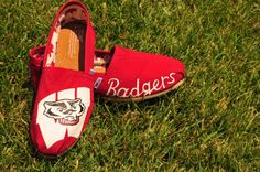 University of Wisconsin Badgers Custom Painted College-Themed TOMS Shoes
