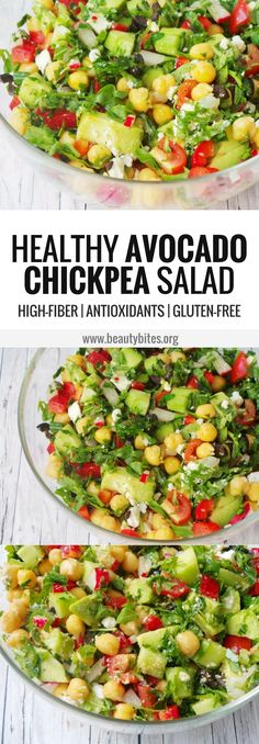 Having this delicious healthy avocado chickpea salad again for dinner tonight. It was sooo refreshing! A great high-fiber recipe, full of antioxidants and very easy and quick to make - perfect for summer!