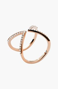 Michael Kors Pavé Open Ring at Nordstrom.com. Bright crystals accent the pointed design atop a modern, geometric-inspired ring.