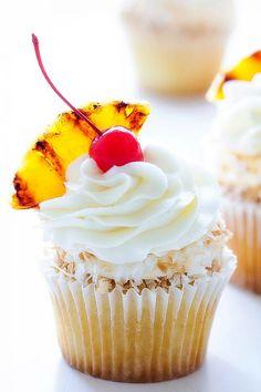 Pina Colada Cupcakes via Bakers Royale