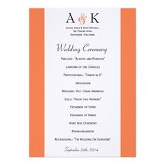 Ampersand Elegance: Coral Wedding Program