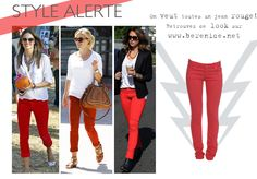 Get inspiration from street icons and shop our red denim at www.berenice.net / street style / celeb style/