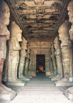"""Abu Simbel interior, Egypt. Construction of the temple complex started in approximately 1264 BCE and lasted for about 20 years, until 1244 BCE. Known as the """"Temple of Ramesses, beloved by Amun"""" it was one of six rock temples erected in Nubia during the long reign of Ramesses II."""