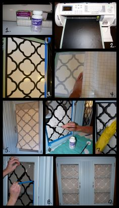 (Hutch 2 of 2) DIY etched glass project—cool finished look with the Moroccan design❣ (see other pin for tutorial) 2busybrunettes