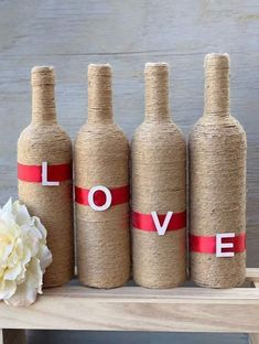 Excited to share this item from my shop: LOVE Twine Bottles Glass Bottle Crafts, Wine Bottle Art, Diy Bottle, Glass Bottles, Bottle Lamps, Twine Bottles, Wine Decor, Bottle Painting, Jar Crafts