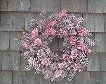 Pretty IN Pink Maine Pinecone Wreath  19 Inch