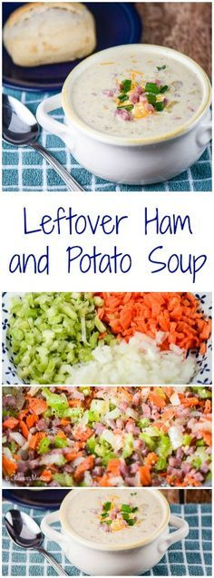 Leftover Ham and Potato Soup is an easy and delicious way to use up leftover ham and potatoes to make a comforting, creamy and cheesy fall or winter soup. Pork Recipes, Crockpot Recipes, Cooking Recipes, Cat Recipes, Potato Recipes, Yummy Recipes, Ham And Potato Soup, Ham Soup, Kitchen