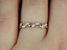 Daphine 14kt Rose Gold Thin Weaving Leaves Diamonds Berries Halfway Eternity Band (Available in other metals)