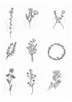 30 Ways to Draw Plants & Leaves // Drawing ideas, easy drawing ideas, botanical drawings, plant drawings, easy things to draw easy drawings 30 Ways to Draw Plants & Leaves Mini Tattoos, Little Tattoos, Small Tattoos, Small Flower Tattoos For Women, Small Meaningful Tattoos, Henna Tattoo Muster, Tattoo Henna, Henna Art, Tattoo In Arm