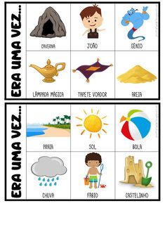 FICHAS PARA PRODUÇÃO DE TEXTO Free Alphabet Printables, Abc Phonics, Poetry For Kids, Fairy Tales For Kids, Preschool Learning Activities, Educational Games, Teaching Spanish, Conte, Kindergarten