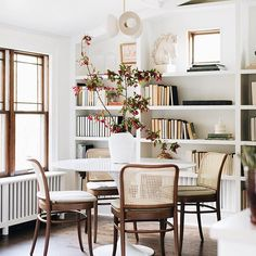 Room of the Week :: Pared Down European Style in a Living & Dining Space - coco kelley Rattan Dining Chairs, Modern Dining Chairs, Dining Room Inspiration, Plywood Furniture, Furniture Design, Dining Room Design, Dining Room Office, Design Room, Kitchen Design