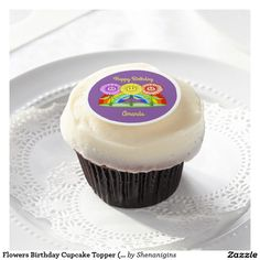 Flowers Birthday Cupcake Topper (Customizable)