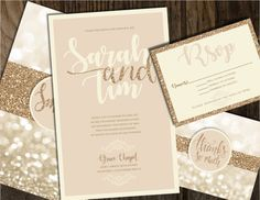 Champagne And Gold Wedding Invitation By Joyinvitations