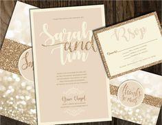 Champagne and Gold Wedding Invitation Wedding by Joyinvitations