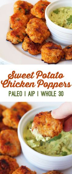 Sweet Potato Chicken Poppers Recipe (Paleo, AIP & Whole 30) - These chicken poppers are gluten free, paleo, AIP, and egg free, while still being delicious enough to fool anyone who regularly eats otherwise! #chicken #paleo #appetizer #sweetpotatoes #whole30