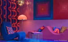 I love what is happening in this room. The saturated color, the geometry, everything.