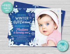 Winter ONEderland Invitation With Photo Girl Snowflakes Winter Wonderland Invitations Floral Winter 1st Birthday Party Instant Download, IS1 Online Invitations, Birthday Invitations, Winter Onederland Invitations, 1st Birthday Party For Girls, Diy Party Supplies, Free Thank You Cards, Winter Parties, 1st Birthdays, Floral Invitation
