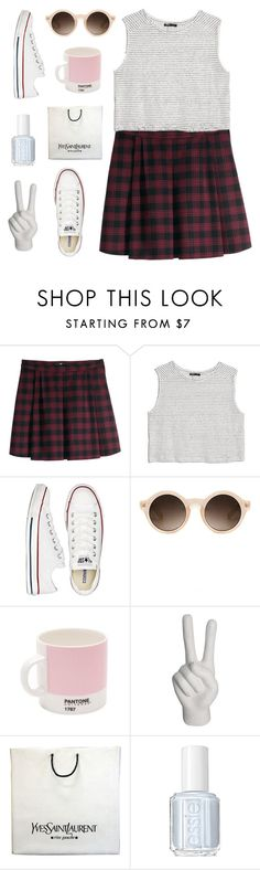 """""""12. // and i will die in this place. //"""" by trenchinq ❤ liked on Polyvore featuring H&M, MANGO, Converse, Missguided, Pantone, Noir, Yves Saint Laurent and Essie"""