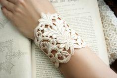 lace bracelet cuff DANIELLE barely blush....tinaevarenee on Etsy