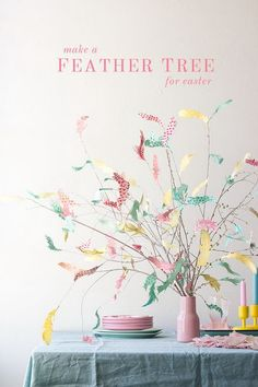 DIY Paper Swedish Easter Tree. What a cheap easy and super cute DIY craft for your Easter table decoration!