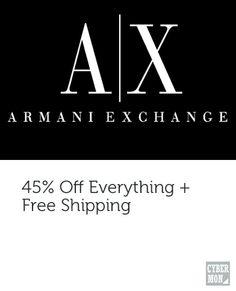 45% off everything at Armani Exchange #armaniexchange #blapit #cybermonday #onedayonly