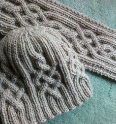 Now to figure out the basic hat part! Snowtracks Cable Knit Hat and Scarf Set - Made To Order Knitting Stitches, Hand Knitting, Knitting Patterns, Crochet Patterns, Stitch Patterns, Knit Crochet, Crochet Hats, Crochet Granny, Cable Knit Hat