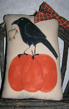 Primitive fall crow and pumpkin ornie pillow at auntiemeowsatticprims