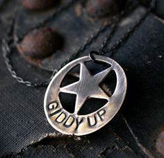 western star pendant antiqued brass star necklace by museglass, $25.00