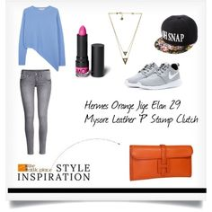 """"""":: STYLE INSPIRATION - Hermes Orange Jige Elan 29 Mysore Leather """"P"""" Stamp Clutch ::"""" by the-attic-place on Polyvore"""