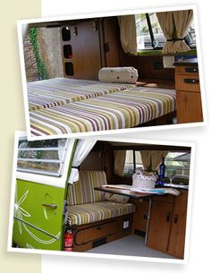 upholstered modular bed. cabinets on driver side only.