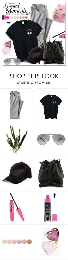 """Top Hat: Baseball Cap Style"" by selmir ❤ liked on Polyvore featuring Lands' End, Ray-Ban, River Island, Rebecca Minkoff, Deborah Lippmann, Boohoo, baseballcap and baseballhats"