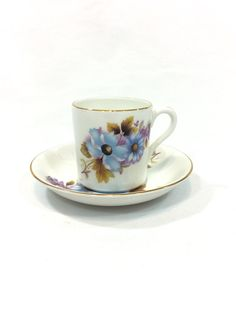English Demitasse Cup & Saucer, Royal Grafton Tea Cup, Blue Woodland Flowers, Espresso Cup, Cottage Shabby Chic, 1950s Vintage Bone China