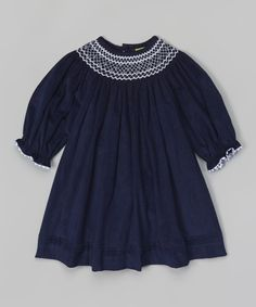 Look what I found on Navy Corduroy Bishop Dress - Infant, Toddler & Girls by Stellybelly Toddler Girl Outfits, Toddler Girls, Cotton Tee, Navy And White, Smocking, Corduroy, Heather Grey, Infant Toddler, Tees