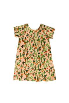 Potted cacti and succulent pattern on girls' dress