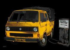 VW Typ 2 T3 Doka Pritsche in black & yellow