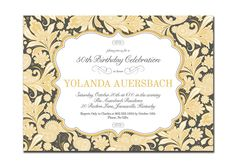 50th Birthday Party Invitation 30th 40th Classic Vintage Calligraphy Wedding Formal Elegant Printable Digital or Printed - Yolanda Style. $20.00, via Etsy.