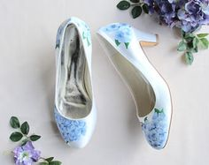 Blue hydrangea, bluebells and personalised intials handpainted Wedding shoes with block heel Baby Blue Heels, Blue Bridal Shoes, Blue Shoes, Women's Shoes, Blue Hydrangea Wedding, Wedding Blue, Baby Blue Weddings, Cinderella Shoes, Painted Shoes