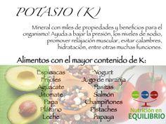 ¡Recuerda incluir alimentos con este mineral tan importante en tu dieta diaria!        #nutricion #salud #cuidadopersonal #potasio #dieta