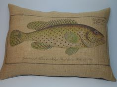 Trout Burlap Pillow Shabby Chic Cabin Decor Man Cave Fish by PolkadotApplePillows on Etsy https://www.etsy.com/ca/listing/248088368/trout-burlap-pillow-shabby-chic-cabin