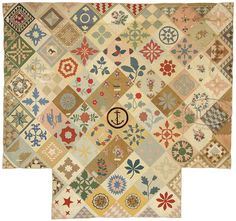 "Outstanding folk art ""bark messenger"" friendship/album quilt. Circa 1850."
