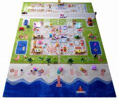 """3D Spielteppich und Kinderteppich Puppenhaus Doppelhaus """"Twin Houses"""" mit Strand, in 3 Grössen erhältlich"""
