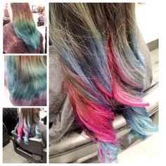 Before and after. Previous colour was done at home. Blue and pink photos are what we created with what we had to work with.