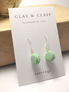 Dangly Macaron Earrings - beautiful handmade polymer clay jewellery by Clay & Clasp