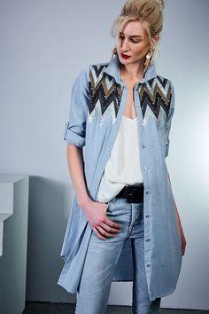 Kadın Mavi Payetli Gömlek Elbise Cool & Sexy | Trendyol