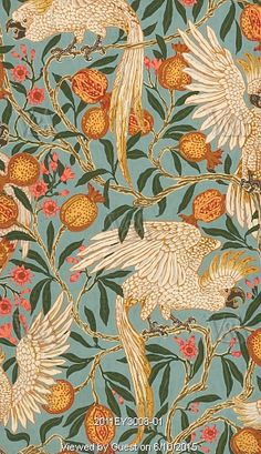 Cockatoo and Pomegranate wallpaper, by Walter Crane. England, 1899