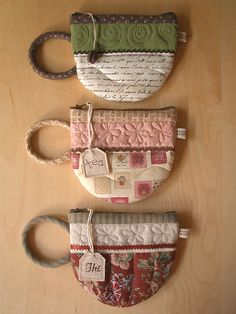 TeaCup Zipper Pouches - ♥ I might not be able to do this, but I'm sure @Mollie Carothers could! :)