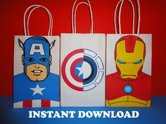 PRINTABLE--> Captain America/ Ironman/ Civil War Birthday Party Favor Bags / Favors/ Goodie/ Goody/ Treat/ Loot/ Candy Bags/ bag/ civil war birthday party decoration by CreativePartyStudio on Etsy Civil War party decoration/ favors/  cake/ cupcake toppers/ invite/ cookies/ Captain America/ Ironman iron man favor/ goodie bags/ tee shirt/ clipart/ backdrop/ piñata/ balloons/ centerpiece/ centerpieces/ invite/ invitation/ costume/ free
